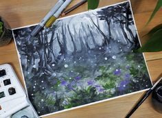 """""""Moonlight+Mist""""  Original+painting+by+Kelsey+Yurkow,+2017  Size:+21+x+29.7+cm+(A4)    ►+Made+with+watercolor+paint+&+colored+pencil+on+thick,+300g+cold+pressed+paper+-+lightly+textured.+Signed+&+dated+on+the+back.    ►+Color+and+value+may+vary+slightly+from+the+image+on+the+computer+screen.+The+..."""