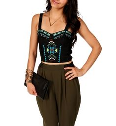 Black Tribal Denim Bustier