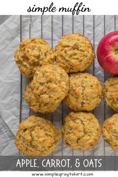 Apple cinnamon oatmeal breakfast muffins make your morning simple again. An easy recipe that can made in one bowl is a win for busy families everywhere. Adding in an apple and few carrots make these breakfast muffins healthy and delicious. #muffins #oatmealmuffin #applecinnamon #oatmealbreakfastmuffins Carrot Muffins Easy, Healthy Muffins, Apple Cinnamon Oatmeal, Cinnamon Apples, Baby Puree Recipes, Baby Food Recipes, Oatmeal Breakfast Muffins, Clean Eating Breakfast, Easy Snacks