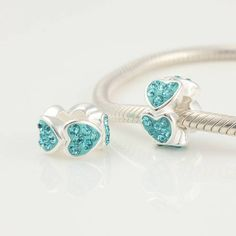 CLXS205D 925 Sterling Silver Love Heart Blue Crystal Pandora Charms beads on sale,for Cheap,wholesale