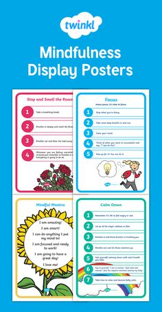 Bring Mindfulness into your classroom with these beautiful mindfulness posters. They have  been designed to cover the key areas of mindfulness. They include: Breathing Technique Poster, Focus Poster, Mantra Poster, Calm Down Poster. Display them in your classroom to give students an opportunity to practice Mindfulness each day.