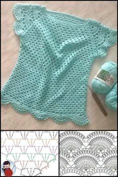 Crochet Coaster Pattern, Crochet Edging Patterns, Crochet Vest Pattern, Crochet Tunic, Crochet Jacket, Crochet Diagram, Baby Knitting Patterns, Crochet Baby Sweaters, Crochet Clothes