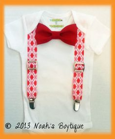 Baby Boy Valentines Day Outfit - First Valentine's Day Baby Boy - Infant Valentines Outfit Boy - Arglye Suspenders - Newborn Valentine's Day by Noah's Boytique on Etsy, $19.00