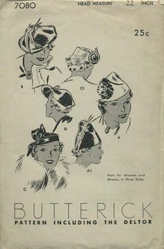 Vintage Hat Sewing Pattern | Butterick 7080 | Year 193? | Head Size 22
