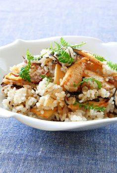 Bamboo-shoot pilaf - a new twist on the traditional Takenoko Gohan. I would add shiitake and julienned carrots to this. Looks really promising.
