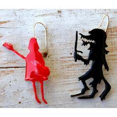 little red riding hood rocks , earrings Red Riding Hood, Little Red, Wearable Art, Pop Art, Rocks, Brass, Drop Earrings, Silver, Jewelry