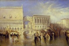 JMW Turner, 'Venice, the Bridge of Sighs' 1840. A famous landmark, the bridge connects the Doge's Palace on the left with the prisons of the Palazzo dei Prigioni to the right. When Turner exhibited the painting in 1840, with lines based on a Byron poem: 'I stood upon a bridge, a palace and A prison on each hand.' It was Byron who allegedly coined the name, deriving its from the mournful image of convicts taking their last glimpse of the city before being led down to the darkness of the…