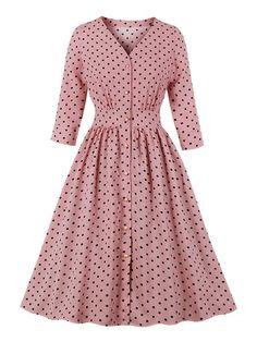 Vintage Dress Pink Polka Dot Long Sleeves V Neck Rockabilly Dress Formal Dresses With Sleeves, Plus Size Formal Dresses, Modest Dresses, Casual Dresses, Fashion Dresses, Summer Dresses, Pink Dresses, Party Dresses, Chiffon Dresses