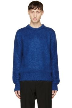 YSL Long sleeve wool and mohair-blend sweater in 'royal' blue. Rib knit crewneck collar, cuffs, and hem. Tonal stitching.