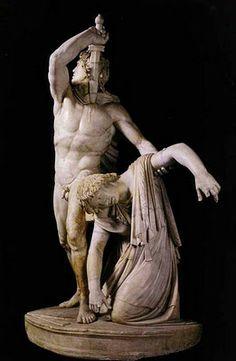 ** ESCUELA PÉRGAMO ::: GALO LUDOVISI, h. 230 a.C - Copia del original - Estructura piramidal, Galo se suicida después de haber matado a su mujer con su espada. Contraste de su cuerpo musculado con el de ella.