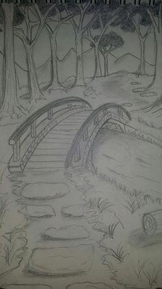 Brücke Brücke The post Brücke appeared first on Frisuren Tips. Landscape Pencil Drawings, Landscape Sketch, Pencil Art Drawings, Landscape Art, Nature Sketches Pencil, Landscape Tattoo, Landscape Drawing Easy, Pencil Sketch Drawing, Cool Art Drawings