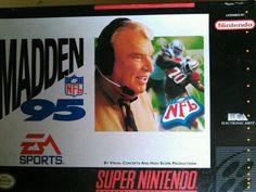 Madden NFL 95  (Nintendo SNES, 1994) Model Num.SNS-006 1991 1992 Nintendo