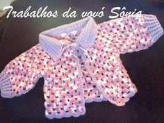 Trabalhos da vovó Sônia: Casaquinho de bebe lilás mesclado Nina - crochê