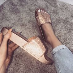 Instagram baddie shoes from Simmi Shoes (women's crystal slide sandal) in Rose Gold. #slidesoutfit #slidesshoes