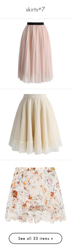 """skirts#7"" by julidrops ❤ liked on Polyvore featuring skirts, bottoms, faldas, pink, saias, tulle skirt, chicwish skirt, knee length tulle skirt, mesh skirt and layered skirt"