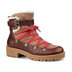 Women's Nine West 'Orynne' Hiker Boot ($150) ❤ liked on Polyvore featuring shoes, boots, cognac suede, lug-sole boots, lace up ankle boots, lace up boots, cognac boots and short lace up boots
