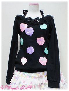 Sugar Hearts Print Cutsew  black
