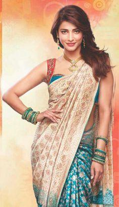 @shrutihassan, #Saree Beautiful both