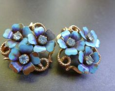 Avon Earrings, Flower and Rhinestone Earrings, Gold Tone and Blue Flowered Earrings, Vintage Earrings