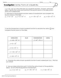 Graphing Quadratics (Standard Form / Factor Form / Vertex Form ...