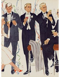 Three evening suits, but three very different styles. Although Black Tie tends to make men all look the same, there are always subtle ways to stand out from the flock of penquins.