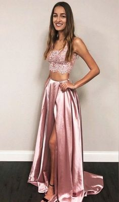two piece pink long prom dresses, simple a line junior prom dresses with appliques, cheap 2 piece graduation party dresses for teens Split Prom Dresses, Prom Dresses Long Pink, Prom Dresses With Pockets, Junior Prom Dresses, Prom Dresses Two Piece, Prom Dresses For Teens, Formal Evening Dresses, Elegant Dresses, Homecoming Dresses