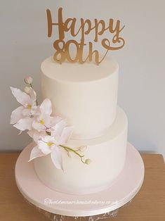 80th Birthday Cake 2 tier Cake Sugar Orchid cake