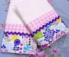 HAND TOWELS Decorated /2 Gingham with Michael Miller print on White Hand Towels #CustomDecorated #Linens