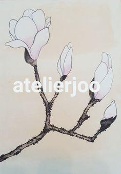 초봄에 제일 먼저피는 목련을 그려보았어요~ 매서운 한파가 살짝물러나고 오늘낮에는 포근하더라고요~^^ 겨... Pottery Painting, Fabric Painting, Pottery Art, Magnolia Paint, Magnolia Flower, Cherry Blossom Art, Drawing Sketches, Drawings, Plant Drawing