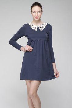 Navy Lace Collar Nursing Dress / Maternity Dress - Breastfeeding Dress Pregnancy Dress - navy dark deep blue floral lace peter pan - #L07b