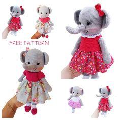 Amigurumi Female Elephant Free Crochet Pattern - Arslan.life Double Crochet, Single Crochet, White Rope, Crochet Patterns Amigurumi, Free Crochet, Free Pattern, Elephant, Weaving, Teddy Bear