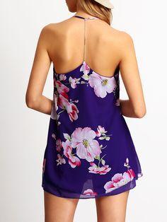 Vestido tirante fino flores gasa-(Sheinside)