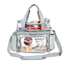 Introducing our Heavy Duty Dual Storage Clear Lunch Tote. Size: 12 x 12 x Ncaa Football Game, Beer Cooler, Picnic Bag, Lunch Containers, Snack Bags, Lunch Tote, Clear Bags, School Sports, No Name