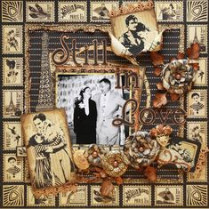 Still in Love -  vintage scrapbook layout.  could you photos around the outside!