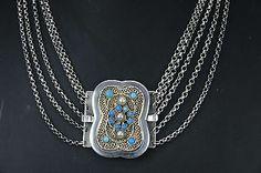 Antike Berchtesgadener Kropfkette Silber 5 Gänge 44cm !!!