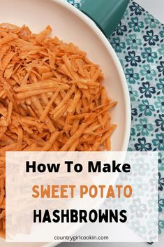 Breakfast Potato Casserole, Sweet Potato Breakfast, Breakfast Dishes, Sweet Potato Hash Browns, Shredded Potatoes, What Can I Eat, Good Carbs, Party Finger Foods, Thm Recipes