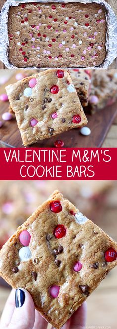 Easy Valentines Day Cookies: M&Ms Valentine's Day Cookie BarsYou can find Valentine treats and more on our website.Easy Valentines Day Cookies: M&Ms Valentine's Day Cookie Bars Valentine Desserts, Valentines Day Cookies, Valentines Baking, Valentine Treats, Holiday Treats, Holiday Recipes, Holiday Desserts, Valentine Cookie Recipes, Valentine Food Ideas