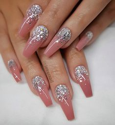 46 Attractive Nail Art Designs For Coffin Nails 2018 – Makeup & Nail Ideas Cute Acrylic Nails, Glitter Nail Art, Cute Nails, Pretty Nails, Glitter Nail Designs, Glam Nails, Bling Nails, Beauty Nails, Hair And Nails