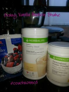 Berry Vanilla Protein Shake! 2scoops Herbalife Formula 1 French Vanilla,  2tbs Herbalife Personalized Protein Powder, Frozen Berries,  & 8oz Water...enjoy!  Get started today! Coachronned@gmail.com