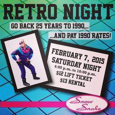 Retro Night & Rail Jam, Saturday Night! 1990 lift ticket & rentals: $12 lift, $13 rental. Wear your best retro gear!