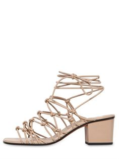 CHLOÉ - 50MM LACE-UP LEATHER SANDALS - LUISAVIAROMA - LUXURY SHOPPING WORLDWIDE SHIPPING - FLORENCE