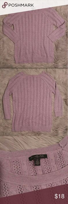 American Eagle Outfitters Cable Knit 3/4 Sweater American Eagle Outfitters Cable Knit 3/4 Sweater Size S in great condition. Light purple soft cable knit. American Eagle Outfitters Sweaters Crew & Scoop Necks