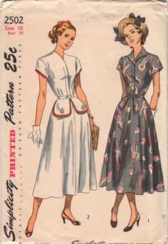 Your place to buy and sell all things handmade Simplicity 2502 Misses Flared Skirt DRESS Pattern Frock Pattern Womens Vintage Sewing Pattern Size 16 Bust 34 Frock Patterns, Vintage Dress Patterns, Clothing Patterns, Vintage Dresses, Vintage Outfits, Moda Vintage, 1940s Fashion, Vintage Fashion, Midi Flare Skirt