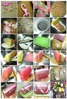 step by step Coach handbag  cake tutorial