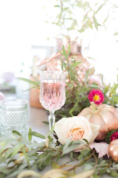 I love the timeless look of copper. In the past, I have incorporated it into a few tablescapes, but have noticed a new classic popping up of late - rose gold. Rose gold is like a modern take. Engagement Party Decorations, Bachelorette Party Decorations, Bridal Shower Decorations, Gold Birthday Party, Gold Party, 80th Birthday, Baby Shower Fall, Floral Baby Shower, Pumpkin Bouquet