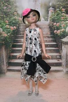 """OOAK 1920 """"Thoroughly Modern Ellie"""" outfit for Ellowyne on ebay by seller cre8inart"""