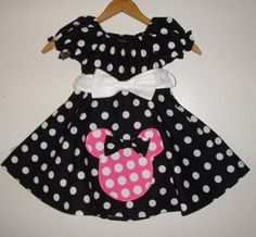 Minnie black polka dots dress with pink dots mouse by minnieschild, $28.00