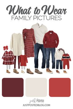 family photo outfits Burgundy, Cream and Red make up this picture perfect family look for Christmas Photos. This link has 8 different options for what to wear for family pictures f Fall Family Picture Outfits, Christmas Pictures Outfits, Family Pictures What To Wear, Family Picture Colors, Family Portrait Outfits, Winter Family Photos, Family Christmas Pictures, Family Outfits, Family Portraits