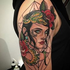 Neo traditional gril and snake tattoo by Drew Romero #Tattoo #NeoTraditional…