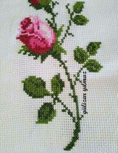 This Pin was discovered by Zer Cross Stitch Rose, Cross Stitch Charts, Cross Stitch Embroidery, Hand Embroidery, Cross Stitch Patterns, Palestinian Embroidery, Ribbon Work, Bargello, Needlepoint